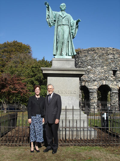 Rev. Dr. Carl Scovel and the Rev. Amy Freedman in front of the statue of William Ellery Channing facing Newport's Channing Memorial Church.
