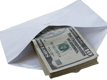 Envelope full of cash